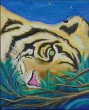 Le tigre couché à la belle étoile.
