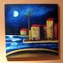 La luna llena emergiendo entre las nubes y alumbrado un paisaje marino.. Roser Nou