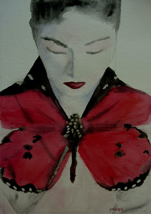 Aquarelle Madame Butterfly. Yokozaza Yokozaza