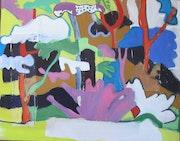 Paysage, 90x80cm, gouache sur toile, 2002,. Chez Moi, Chez Toi