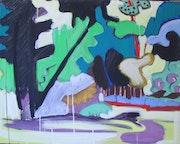 Rive, 90x80cm, gouache sur toile, 2003,. Chez Moi, Chez Toi