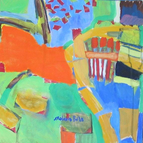 Letters Home, 50x50cm, gouache sur toile, 2009,. Melanie Bide Chez Moi, Chez Toi