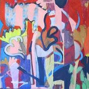 Cajun, 80x80cm, gouache sur toile, 2011,. Chez Moi, Chez Toi