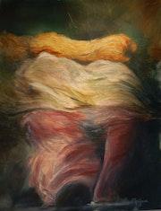 Siamoises, 80 X 100 cm, technique mixte et huiles sur toile,.