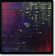 Square and splash; metallic acrylic painting..