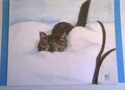 » À chat caché » / Dessin aux crayons et mines + fixatif. Mariraff
