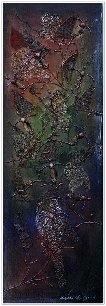 Fuchsia, Metallic 12» X 36» Acrylic Painting iridescent effect. Margaret Malgorzata Michalska Margaret Michalska