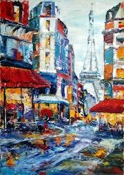 Un petit dans les rues de Paris.
