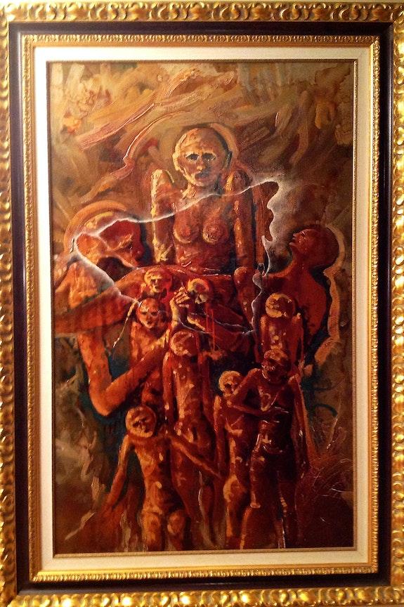 Ölgemälde Maler Ricard Jordà Nicaragua Erdbeben. Ricard Jordà Antiguedadesoratam