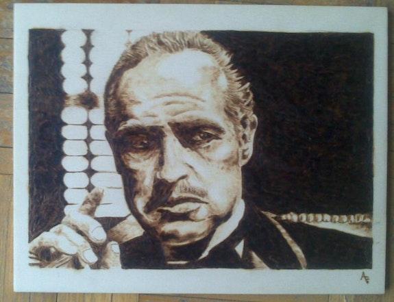 Vito Corleone. Antonio Florido Antonio Florido & Eva Fernandez Pirograbados
