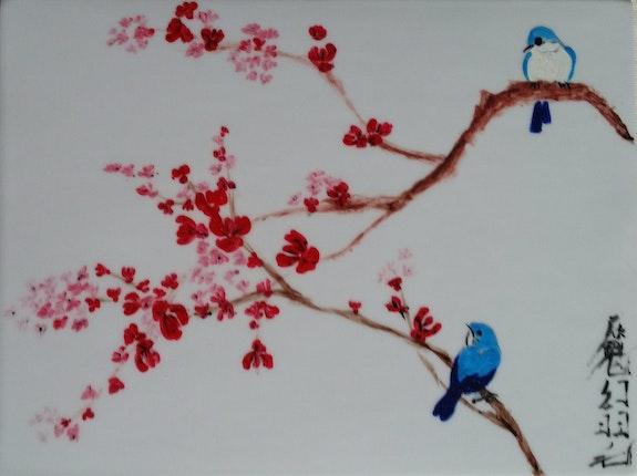 Couple d'oiseaux sur branche de cerisier.  Plume Magicienne