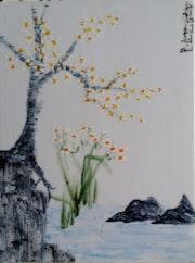 Printemps au bord de la rivière, peinture «xieyi» sur porcelaine.