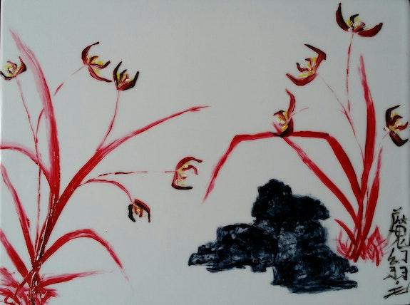 Orchidées rouges.  Plume Magicienne