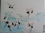 Envol de grues, peinture «xieyi» sur porcelaine.