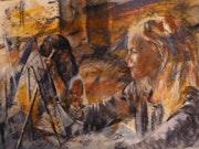 Amélie et Johanne devant leur chevalet. Anne-Marie Vandorpe Deligne