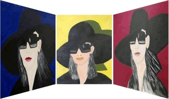 Triptyque «Lunettes 1, Lunettes 2, Lunettes 3» acrylique sur toile.. Amira Amira (Nom d'artiste)