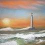 Coucher de soleil sur la mer. Christine Dupuy