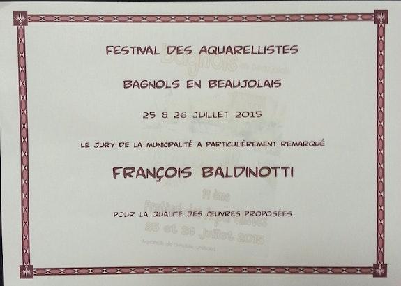 Nomination au prix de la commune du concours Bagnole 2015. Baldinotti François Forangeart F. Baldinotti Peintre De l'air