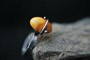 Amber ring, sterling silver, solid 925 silver,. Margaret Michalska