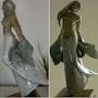 Libre - Sculpture d'une jeune femme courant avec un voile bleu dans les mains.. Xavier Besson