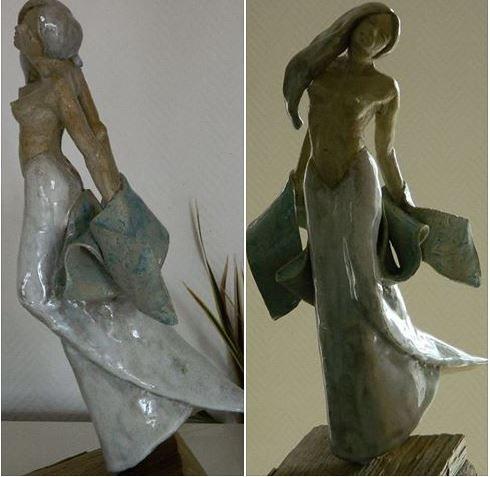 Libre - Sculpture d'une jeune femme courant avec un voile bleu dans les mains.. Xavier Besson Xavier Besson