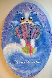 Peinture acrylique Chat «Mister Lavande».