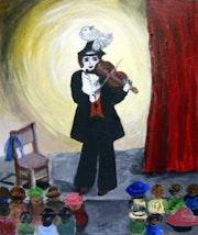 «Le Clown au violon» Carton toilé 10f.
