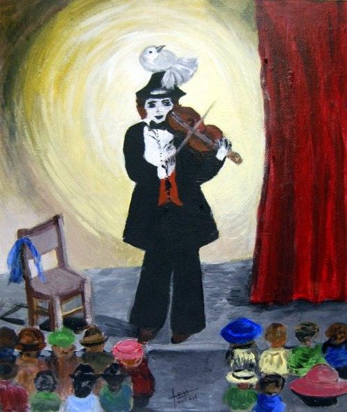 «Le Clown au violon» Carton toilé 10f. Amira Amira (Nom d'artiste)