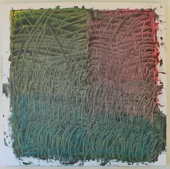 Dans l'herbe, là-bas, 100 X 100 cm huile sur toile, 2013,. Jésus Jérôme Loaëc Chez Moi, Chez Toi