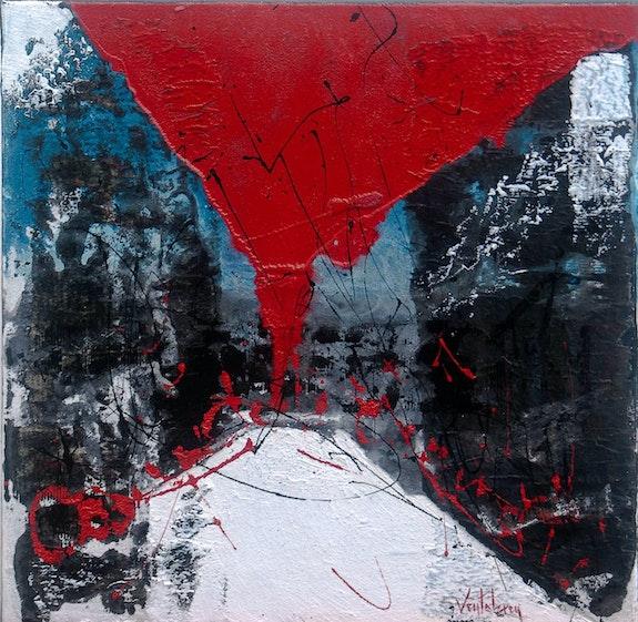 Camp dels cremats, 50 X 50 cm, technique mixte sur toile,. Ventabren Chez Moi, Chez Toi