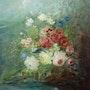 Bouquet de fleurs à l'oiseau. Stanislas Jung