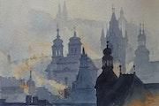 Prague dans la brume.