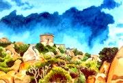 Les rochers, le maquis, la tour et l'orage.