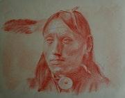Indien, sanguine grasse sur papier Ingres beige.