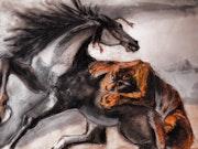 D'après Delacroix » Tigre attaquant un cheval».