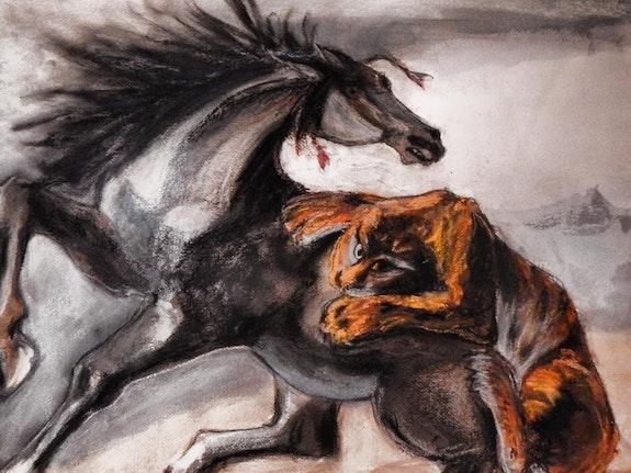 D'après Delacroix » Tigre attaquant un cheval». Mylene Caïe-Bertin Mylène Caïe-Bertin