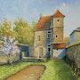 Arbre en fleur et vieille demeure a Sées. Stephan Serais