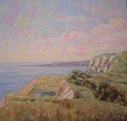Folkestone from Dover cliffs..