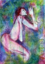 Peinture acrylique belle femme nue de profil et papillons tons bleu et mauve.