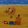 Une famille à la plage. Pich