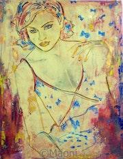 Ambre bleue - Femme alanguie huile sur toile.