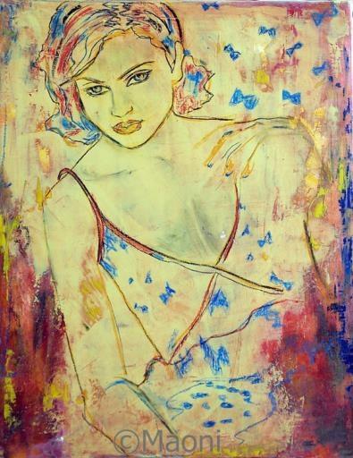 Ambre bleue - Femme alanguie huile sur toile. Maoni Maoni