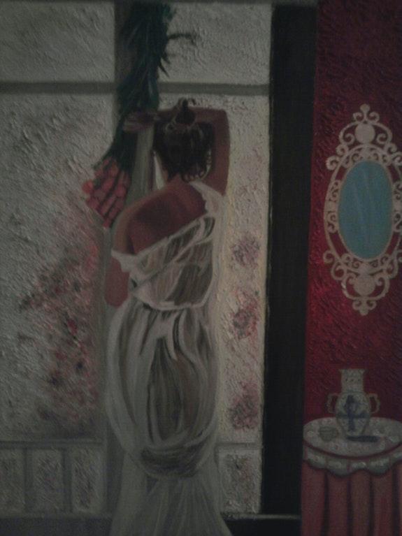 Mujer de espalda mirando por la ventana. Paqui Sanchez Olea Pintora De Oleo