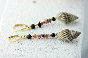 Slava golden sea shell earrings, multicolored Aventurin & goldplated Silver. Steinweich