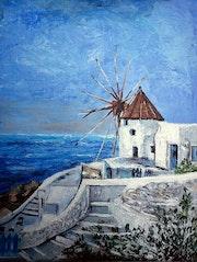 Moulin de Santorin Ile de Crète.