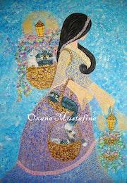 Peinture acrylique «Princesse- fleuriste portant les chats».