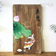 Hand Painting on Wood Board--Gold Fish in Lotus Flower Pond. By Spirits
