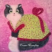 Peinture acrylique Chat romantique «Mademoiselle Lili Rose».