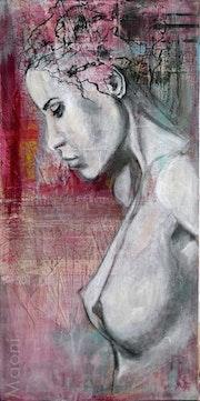 Hanna be jeune femme de profil seins nus peinte sur papiers choisis sur toile.