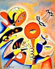 Composition am; Huile sur toile dimension 74 cm X 94 cm 2015.